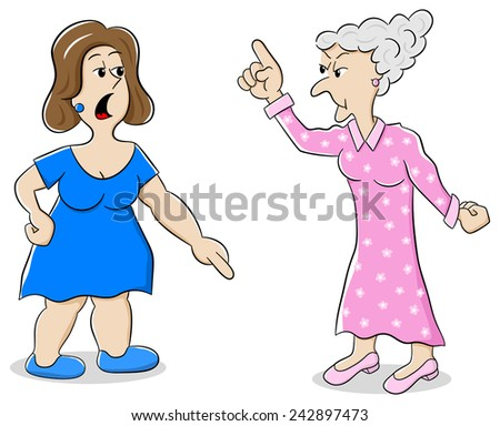 illustration of two women are of different opinion - stock photo