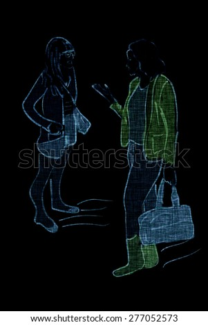 Illustration of two young modern fashionable women talking and shopping. Two trendy girlfriends gossiping. Fashion illustration. - stock photo