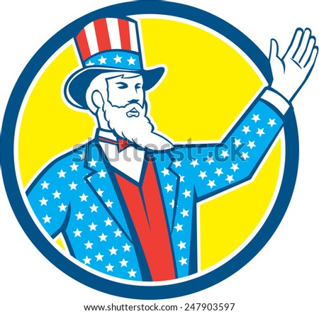 Illustration of Uncle Sam with hand up with stars and stripes American flag design on his hat and clothes set inside circle on isolated background done in retro style.  - stock photo
