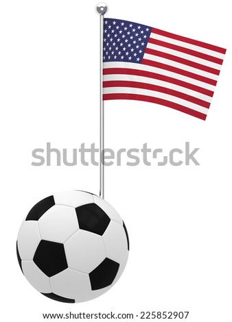 Illustration of United States Flag coming out of a soccer ball or football - stock photo