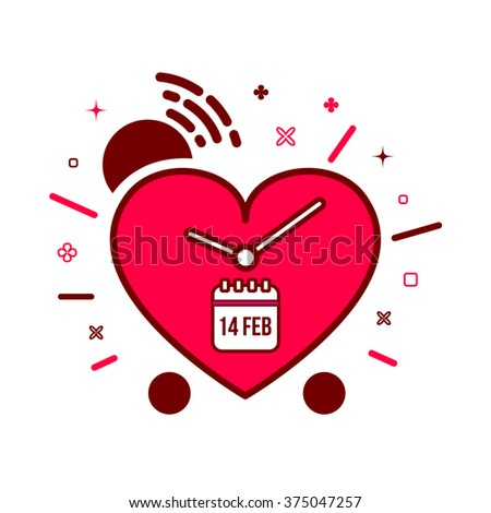 Illustration of valentines alarm clock reminder in modern flat design. Colorful timer icon made of heart in cartoon style. - stock photo