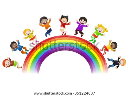 illustration of  various children happy being on top of rainbow bridge isolated on white background - stock photo