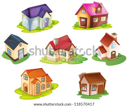 illustration of various houses on a white background - stock photo