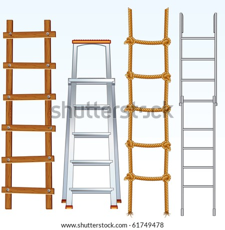 Illustration of various isolated ladders - (similar version vector id=61748359 ) - stock photo