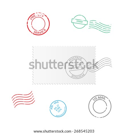 Illustration of various stamp designs isolated on a white background. - stock photo
