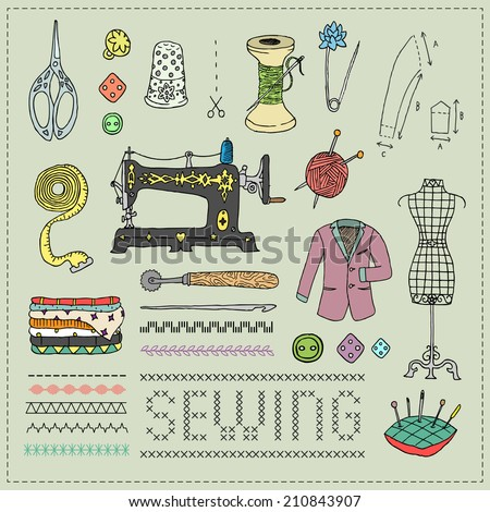 Illustration of vintage sewing accessories. Doodle.  - stock photo