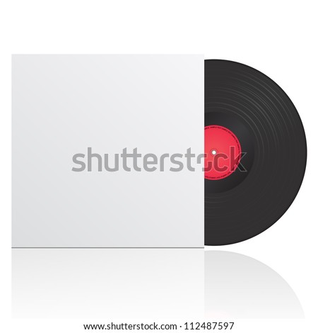 illustration of vinyl record in envelope with space for your text - stock photo
