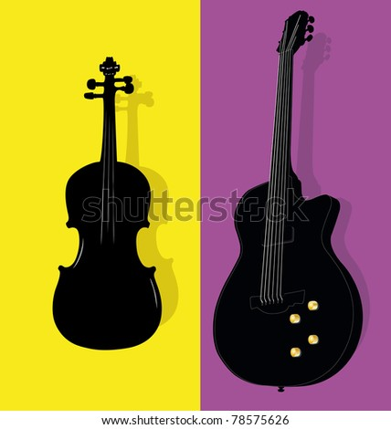 illustration of violin and guitar contours - stock photo