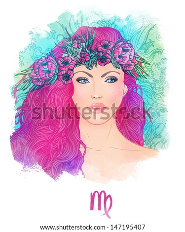 Illustration of virgo astrological sign as a beautiful girl. Watercolor art.  - stock photo