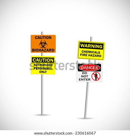 Illustration of warning and caution signs isolated on a white background. - stock photo