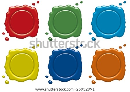 Illustration of wax seals in various colors - stock photo