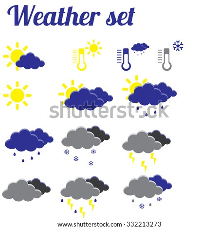 Illustration of weather, weather symbols, weather icon set, weather forecast, icons, sun icon - stock photo
