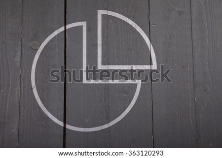 Illustration of white chart pie on dark black wooden background - stock photo