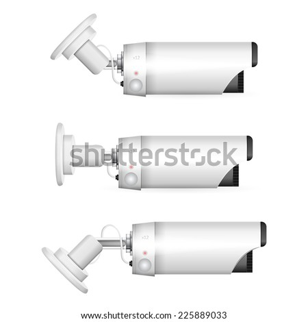 Illustration of white surveillance camera. White surveillance camera in three positions a side view. Three isolated illustrations on white background. - stock photo
