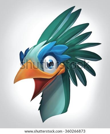 Illustration of wild bird laughing - stock photo