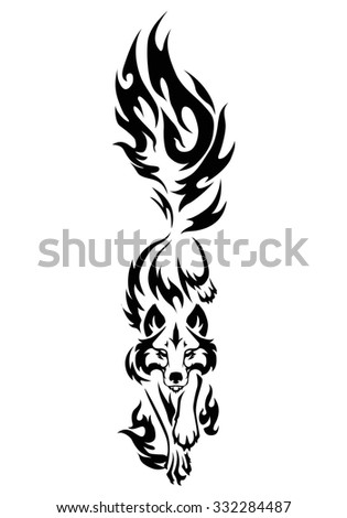 illustration of wolf  black and white tattoo isolated on white background - stock photo