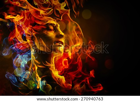 Illustration of woman's face made with fire - stock photo