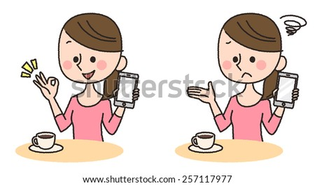 illustration of woman using smartphone - stock photo