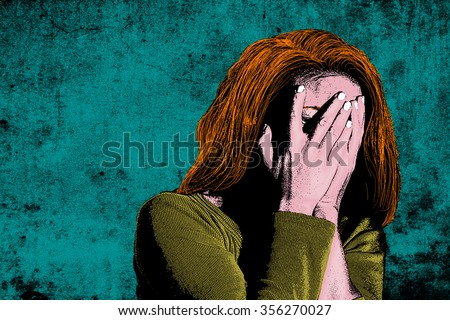 Illustration of woman with head in her hands - stock photo