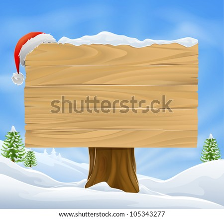 Illustration of wooden Christmas sign with snow and Santa hat hanging from it against a winter landscape. - stock photo