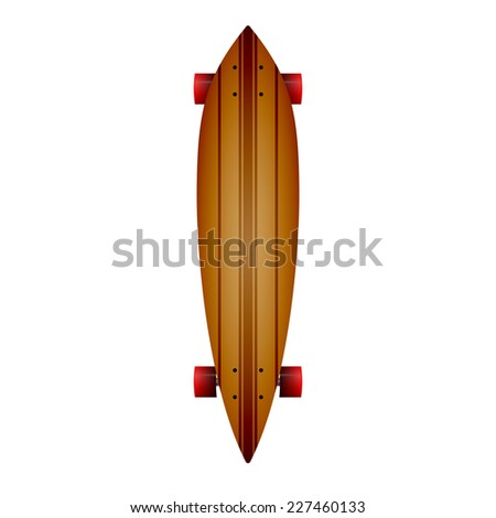 Illustration of wooden longboard. Leaf form wooden longboard with brown lines and red wheels. Single isolated illustration on white background. - stock photo