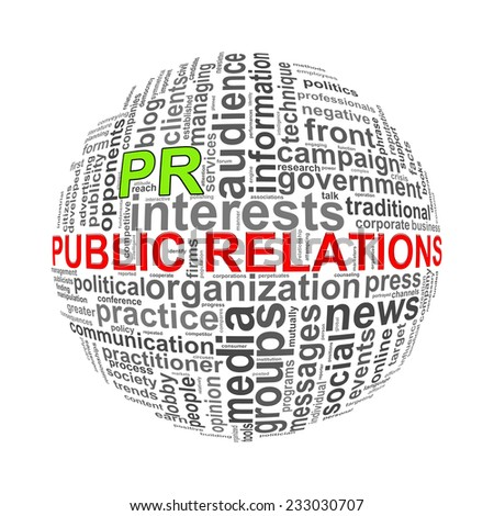 Illustration of word tags wordcloud ball sphere of public relations - stock photo