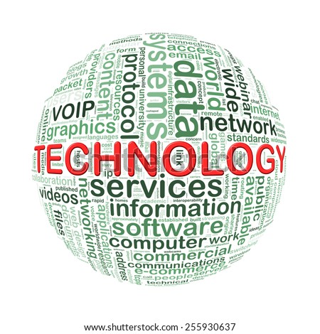 Illustration of word tags wordcloud ball sphere of technology - stock photo