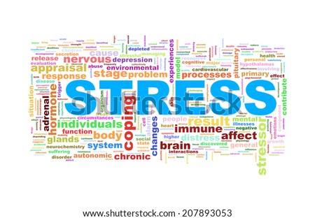 Illustration of word tags wordcloud  of stress - stock photo
