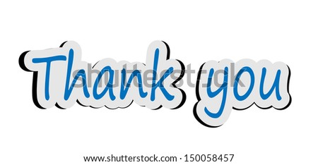 Illustration of word thank you sticker - stock photo