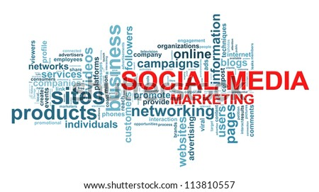 Illustration of wordcloud of social media marketing concept. - stock photo