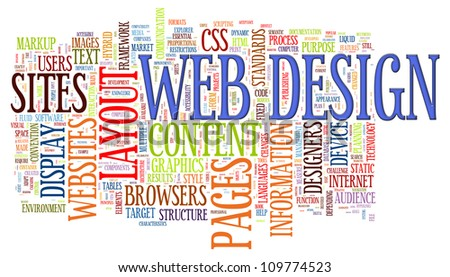 Illustration of wordcloud of web design tags - stock photo