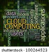 "Illustration of wordcloud related to ""cloud computing"" - stock photo"