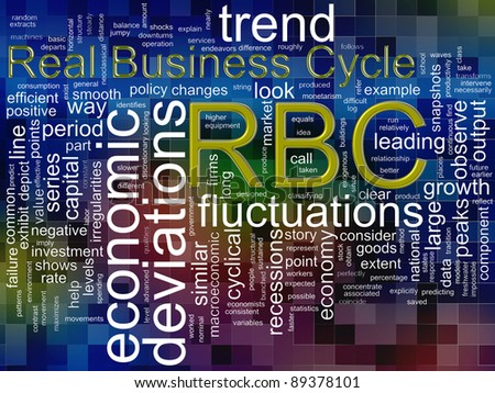 Illustration of wordcloud related to word rbc (real business cycle) - stock photo