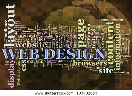Illustration of wordcloud related to word 'web design' - stock photo