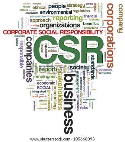 Illustration of wordcloud tags related to csr - corporate social responsibility - stock photo