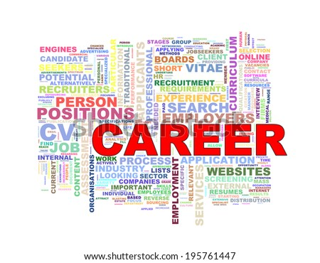Illustration of wordcloud word tags of career concept - stock photo