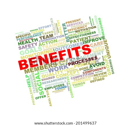 Illustration of wordcloud word tags of concept of benefits - stock photo