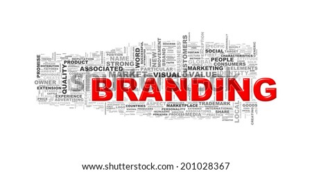 Illustration of wordcloud word tags of concept of branding - stock photo