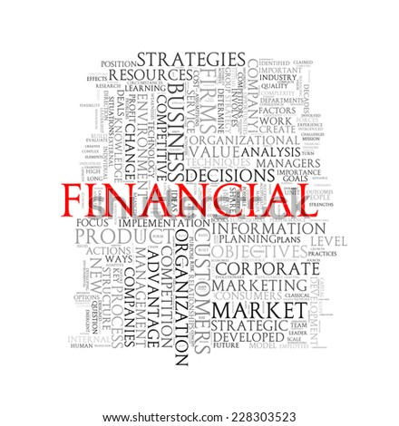 Illustration of wordcloud word tags of concept of financial - stock photo