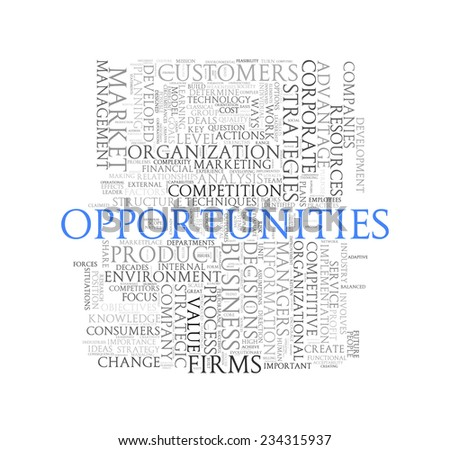 Illustration of wordcloud word tags of concept of opportunities - stock photo
