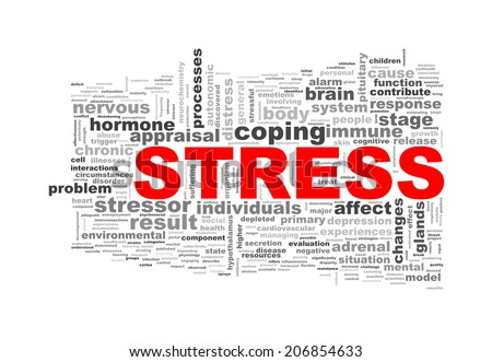 Illustration of wordcloud word tags of concept of stress - stock photo