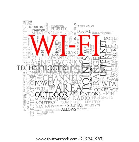Illustration of wordcloud word tags of concept of Wi-fi - stock photo