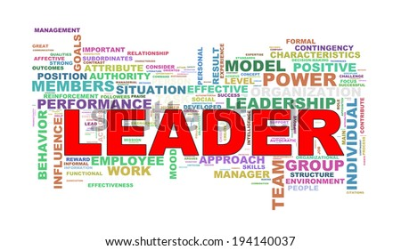 Illustration of wordcloud word tags of leader - stock photo