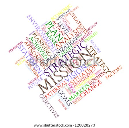 Illustration of wordcloud word tags of mission - stock photo