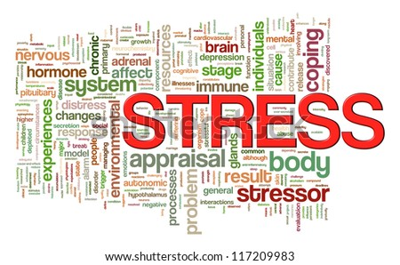 Illustration of wordcloud word tags of stress - stock photo