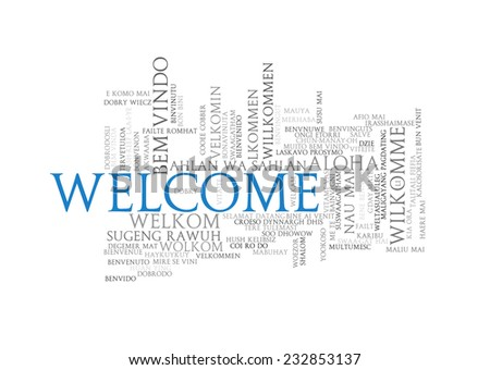 Illustration of wordcloud word tags of welcome in different languages - stock photo
