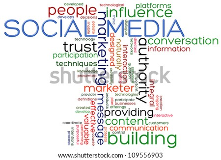 Illustration of words of social media wordcloud - stock photo
