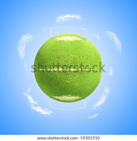 Illustration of World globe as green football or soccer pitch with clouds and blue sky background. - stock photo