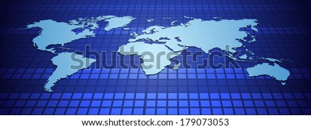 Illustration of World Map on Blue Background  - stock photo