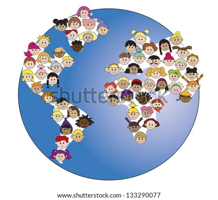 illustration of world with children's faces - stock photo